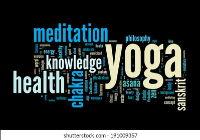 YOGA. Word cloud concept vector illustration on black