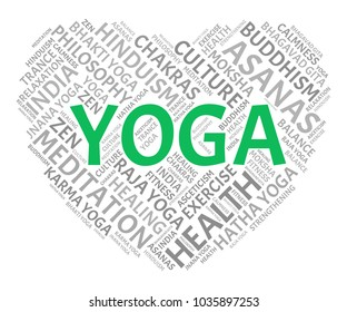 Yoga Word Cloud. Vector Collage Made of Popular Tags