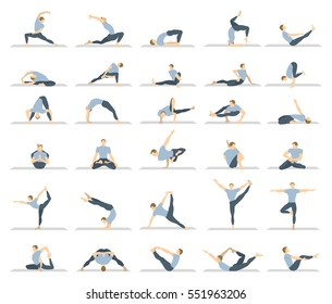 Yoga Workout For Men Set On White Background Different Poses And Asanas