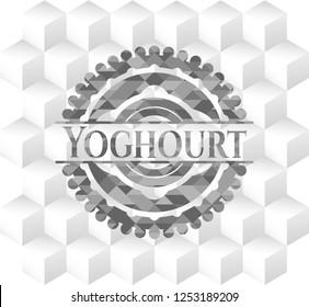 Yoghourt retro style grey emblem with geometric cube white background