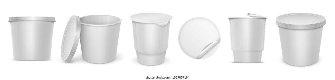 Yoghurt container. Blank 3D plastic packaging mockup with lid of melted cheese spread or butter. Vector isolated white blank circular pack with curled foil for dairy spread product or other nutrition