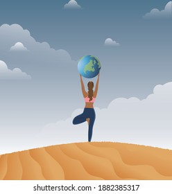 Yogi girl holding the globe in her hands and midit