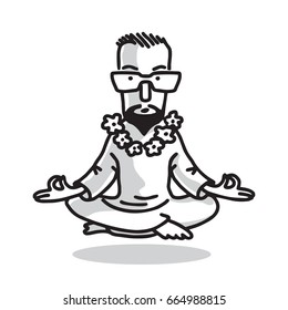 Yogi - Guru with Glasses Sitting In Lotus Pose. Characters of Business Yoga. Vector Isolated Graphic Illustration.
