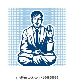 Yogi - Guru Sitting In Lotus Pose. Characters of Business Yoga in Retro Style. Vector Graphic Illustration.