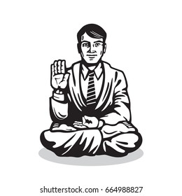 Yogi - Guru Sitting In Lotus Pose. Characters of Business Yoga in the Style of Engraving. Vector Isolated Graphic Illustration.