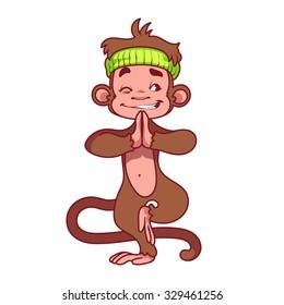 Yogi Monkey. Symbol of 2016 - a monkey. Vector Cartoon character on a white background.