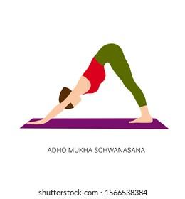 Yogi woman in Adho Mukha Schwanasana or Downward-facing dog Pose. Female cartoon character practicing Hatha yoga. Girl demonstrating exercise during gymnastics training. Flat vector illustration.