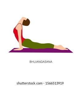 Yogi woman in Bhujangasana or Cobra Pose. Female cartoon character practicing Hatha yoga. Girl demonstrating exercise during gymnastics training. Flat vector illustration.