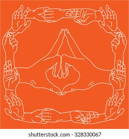 Yogic hand gestures. Palms in different mudra positions. Vector illustration.