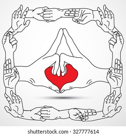 Yogic hand gestures.Palms in different mudra positions. Vector illustration.