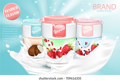 Yogurt ads, appetizing open yogurt with yogurt splash and sparkles  floating in the air, 3d vector illustration isolated on tender sky-blue background.
