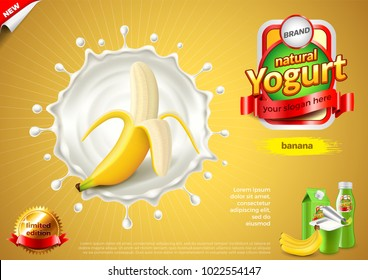 Yogurt ads. Banana in milk splash. 3d illustration and packaging