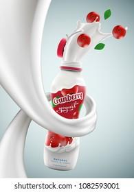 Yogurt bottle ads with cranberry flavor in milk swirl, commercial vector yogurt beverage mock-up hyperrealistic illustration