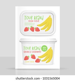 Yogurt box mockup, vector 3d design with banana and strawberry frozen yogurt