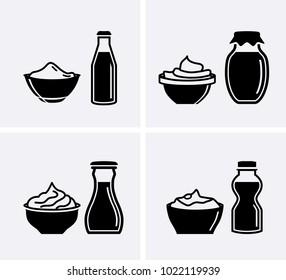 Yogurt container and cream bowl yogurt Icons set. Vector Yoghurt icon