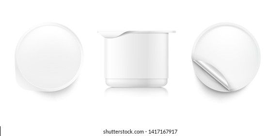 Yogurt container packaging mockup. Vector illustration on white background. Top and side view. Easy to use for presentation your product, idea, design. Front and side view. EPS10.