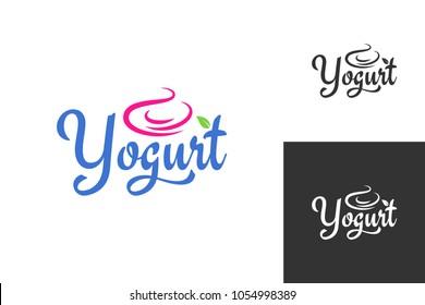 yogurt cream logo. Frozen yogurt label set background