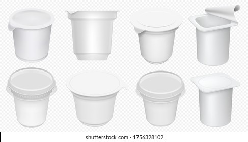 Yogurt cup. Plastic yoghurt pot isolated on transparent background. Blank yogurt container and cream tub template. Milk dessert cup mockup set. Realistic dairy package isolated mock up