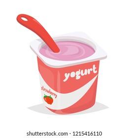 Yogurt cup with spoon