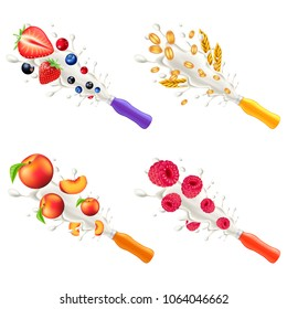 Yogurt explosion from plastic bottle. Forest fruits, cereals, peach and raspberry 3d vector set