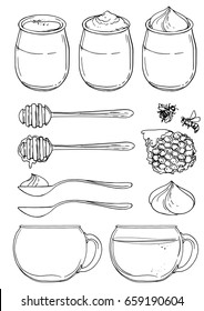 Yogurt in a jar. Glass cups with tea. Spoons. Honey, honeycomb and bees. Sketch of meal line on white background.