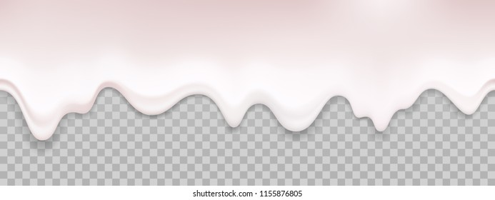 Yogurt liquid texture. Vector dripping cream milk seamless background. Flowing white creamy mayonnaise sauce isolated on transparent background