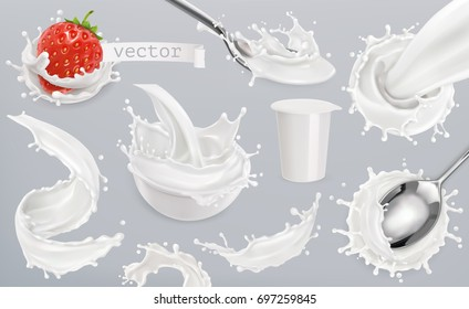 Yogurt, milk splashes. Set 3d vector elements, package design