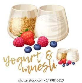 Yogurt and muesli illustration. Summer parfait with strawberry, blueberry, raspberry ingredients. Cartoon vector food icon isolated on white background