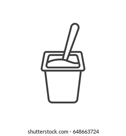 Yogurt with spoon inside line icon.