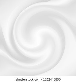 Yogurt waves of white mousse, mixed dairy product with fruit or berry jelly, tasty dessert for product labels vector background. Delicious creamy milk vortex texture illustration for ads, posters.
