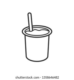 Yogurt / Yoghurt Cup with Spoon Flat Vector Icon for Food Apps and Websites.