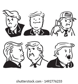 Yogyakarta, Indonesia - August 2019, US President Donald Trump Black White Cartoon pattern Illustration
