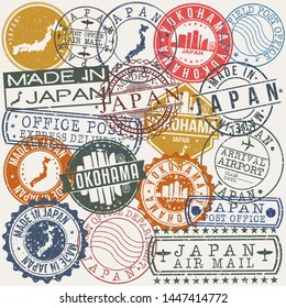 Yokohama Japan. Set of Stamps. Travel Stamp. Made In Product. Design Seals Old Style Insignia.