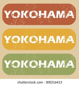 Yokohama on colored background