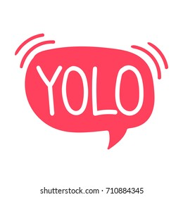 Yolo. Vector lettering, hand drawn illustration on white background.