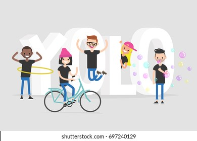 YOLO. You only live once. A group of active teenagers standing near the 3D letters. Conceptual illustrated 3d sign / editable flat vector illustration, clip art