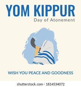 Yom Kippur Day poster design to celebrate Isrel Holiday for Judaism religion, day of atonement. Use this illustration to send greeting, for Jews people