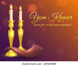 Yom Kippur greeting card with candles and shofar. Jewish holiday background. Vector illustration.
