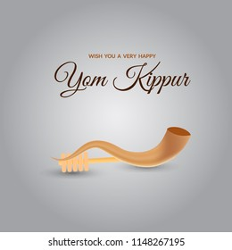 Yom kippur greeting card template design and illustration with shofar vector illustration.