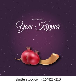 Yom Kippur greeting card and template design illustration with pomegranate and shofar. Vector poster illustration.