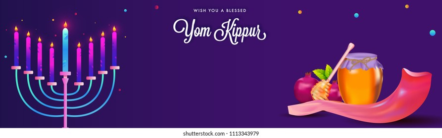 Yom Kippur header or banner design and menorah with burning candles, pomegranates, dripper with honey jar, shofar horn on purple background.