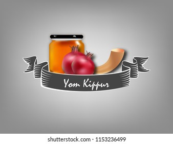 yom kippur poster, flyer and template design illustration with shofar, honey. jewish holiday background.