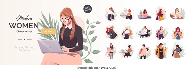 Yong modern women characters set. Working, education and shopping concept. Beautiful female characters Using Laptops, sitting in cafe and go shopping. Vector set