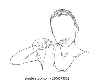 Yooung woman brushing her teeth, woman's head with no face, Vector sketch, Hand drawn illustration isolated on white