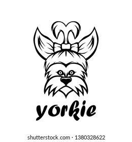 Yorkie dog line art vector