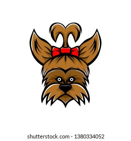 Yorkie dog with red bow tie vector. Yorkie dog mascot.