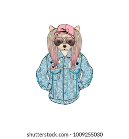 yorkie girl dressed up in retro denim jacket, anthropomorphic animal illustration