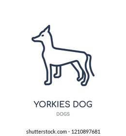 YORKIES dog icon. YORKIES dog linear symbol design from Dogs collection. Simple outline element vector illustration on white background.