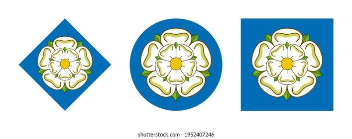 Yorkshire flag icon set. isolated on white background