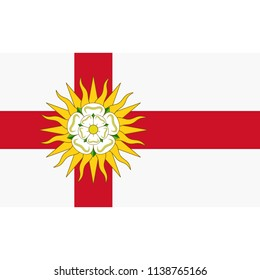 Yorkshire flag, official colors and proportion correctly. National Yorkshire flag. Vector illustration